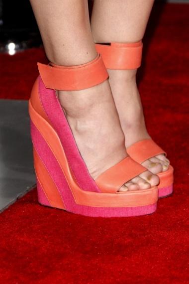 Leighton Meester orange pink wedge heels Country Song Premiere