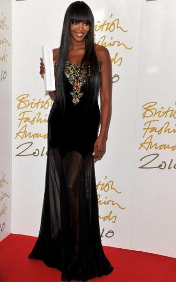 Naomi Campbell Alexander McQueen black gown 2010 British Fashion Awards