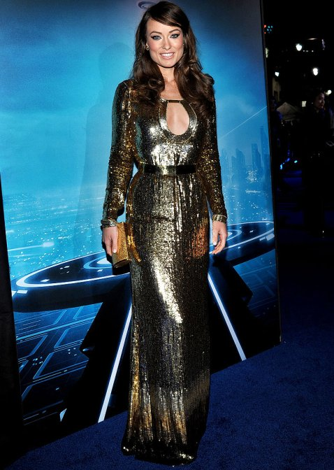 Olivia Wilde in golden gown at TronLegacy Premiere-2