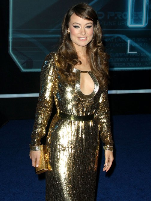 Olivia Wilde in golden gown at TronLegacy Premiere-3