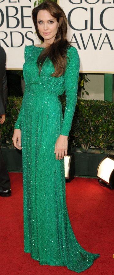 Angelina Jolie Versace gown 2011 Golden Globe Awards