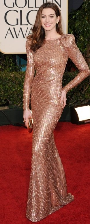 Anne Hathaway shimmery gown 2011 Golden Globe Awards