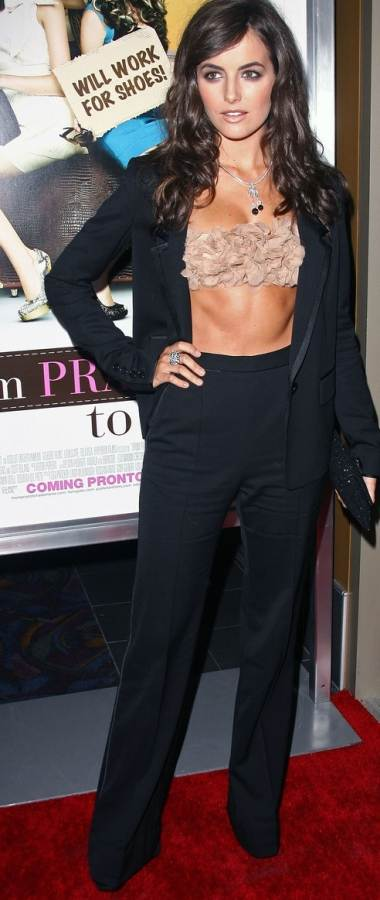 Camilla Belle midriff baring outfit premiere