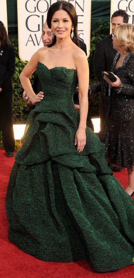 Catherine Zeta-Jones pretty in green at 2011 Golden Globe