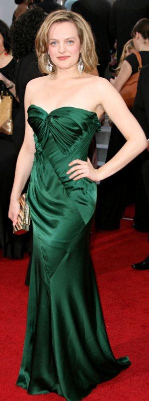 Elisabeth Moss  Donna Karan green gown 2011 golden globes
