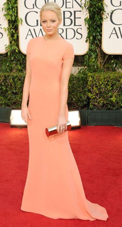 Emma Stone peach gown 2011 Golden Globes Awards