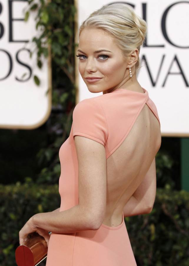 Emma Stones backless coral gown 2011 Golden Globe Awards