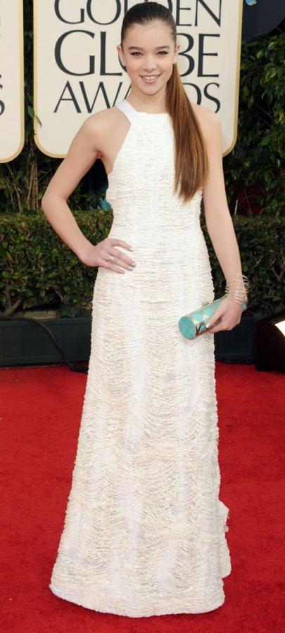 Hailee Steinfeld  white gown 2011 Golden Globe Awards