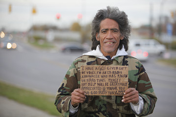 Homeless man Ted Williams