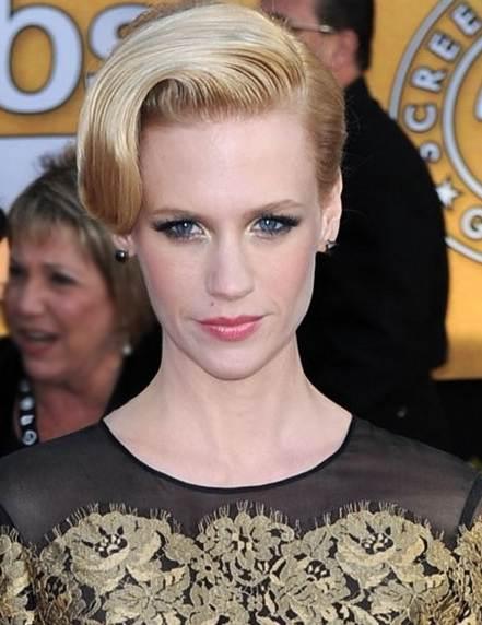 January Jones hairstyle makeup 2011 SAG Awards