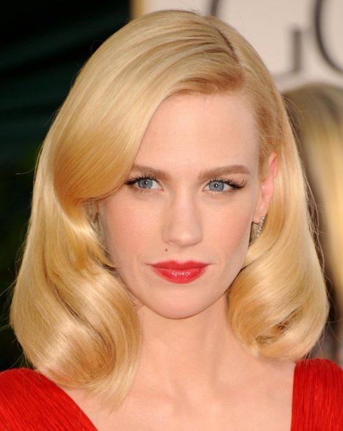 January Jones red hairstyle makeup 2011 Golden Globe Awards