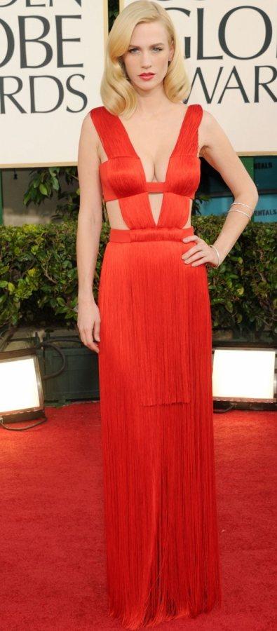 January Jones red hot in Versace at 2011 Golden Globe Awards