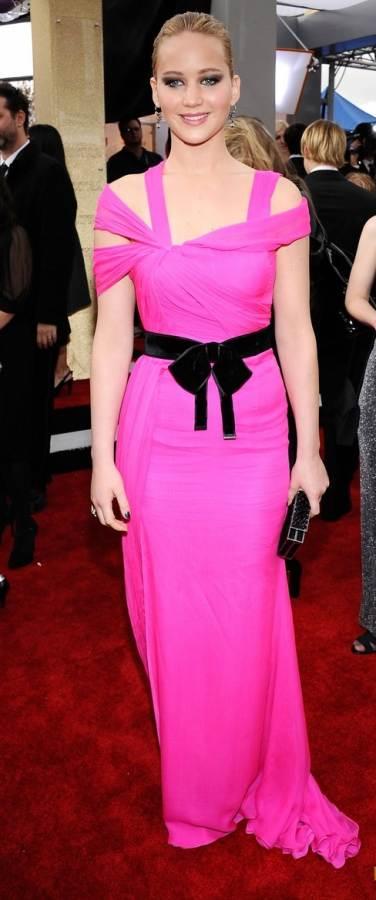 Jennifer Lawrence  Oscar de la Renta pink gown 2011 SAG Awards