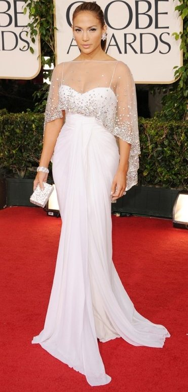Jennifer Lopez angelic in white at 2011 Golden Globe Awards