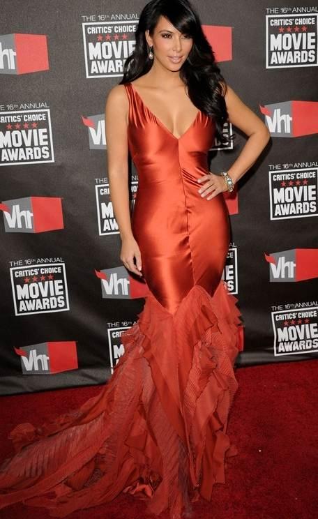 Kim Kardashian red gown 2011 Critics Choice Awards