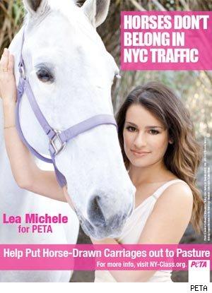 Lea Michaels against horse-drawn carriages