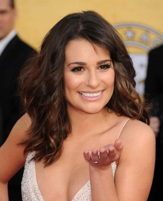 Lea Michele hairstyle makeup 2011 SAG Awards