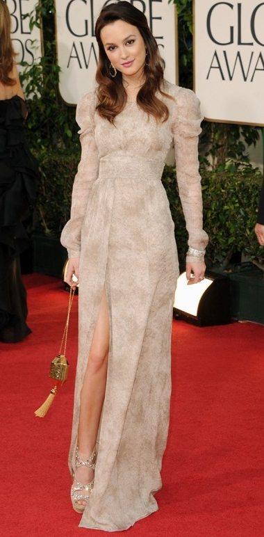 Leighton Meester  Burberry dress Golden Globe Awards 2011