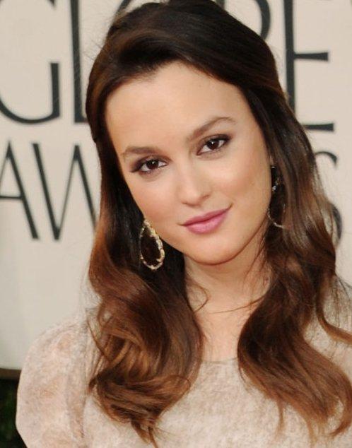 Leighton Meester hairstyle makeup Golden Globe Awards 2011