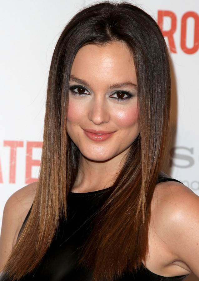 Leighton Meester hairstyle makeup