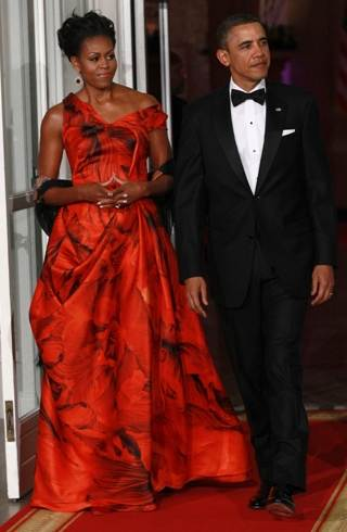 Michelle Obama Alexander McQueen gown for state dinner