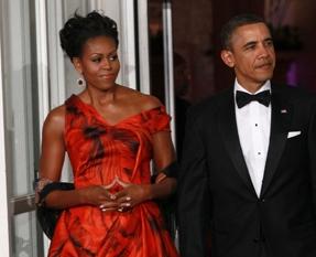Michelle obama red Alexander McQueen red gown