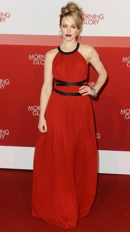 Rachel McAdams red gown Morning Glory premiere