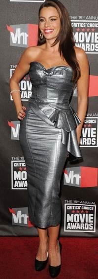 Sofia Vergara gray dress 2011 Critics Choice Awards