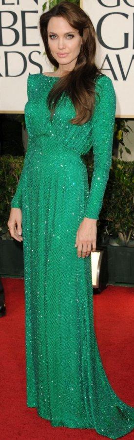 angelina-jolie-versace green gown 2011 golden-globes