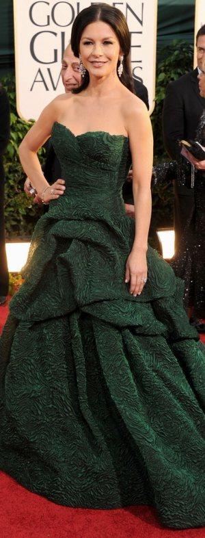 catherine-zeta-jones-Monique Lhuiller green gown 2011 golden-globes