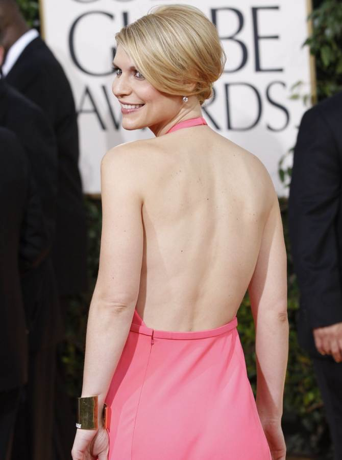 claire Danes backless pink 2011 Golden Globe Awards