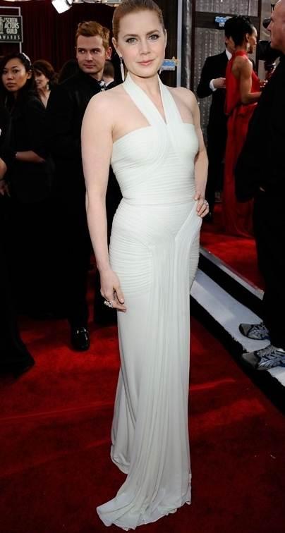 Amy Adams Herve L Leroux draped chiffon jersey gown white