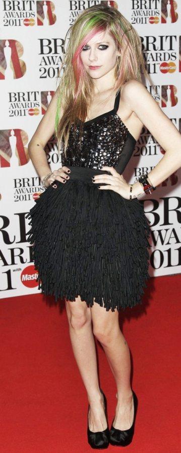 Avril Lavigne in black for the BRIT Awards red carpet
