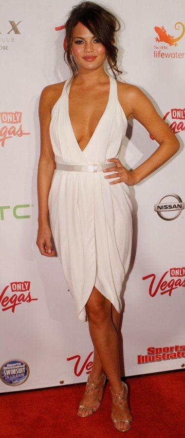 Chrissy Teigen white draped dress Sports Illustrated Swimwear event