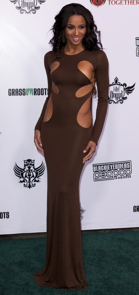 Ciara bold cut out gown Peapod Benefit Concert