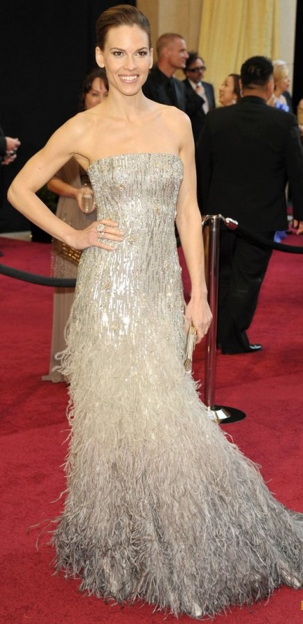 Hilary Swank Gucci  fringed gown 2011 Oscars
