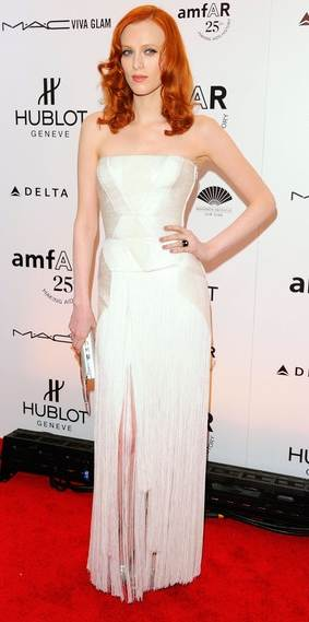 Karen Elson white versace dress amfAR Gala