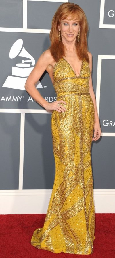 Kathy Griffins yellow and gold outfit 2011 Grammys
