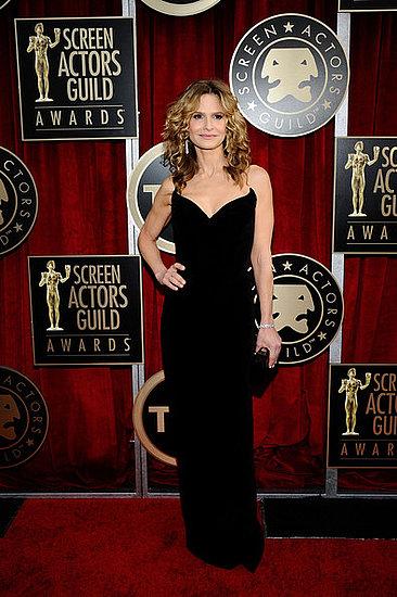 Kyra Sedgwick strapless black gown 2011 sag awards