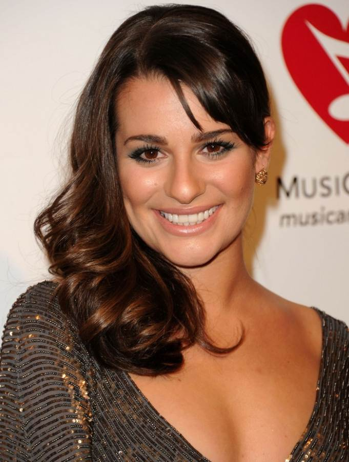 Lea Michele hairstyle makeup MusiCares gala