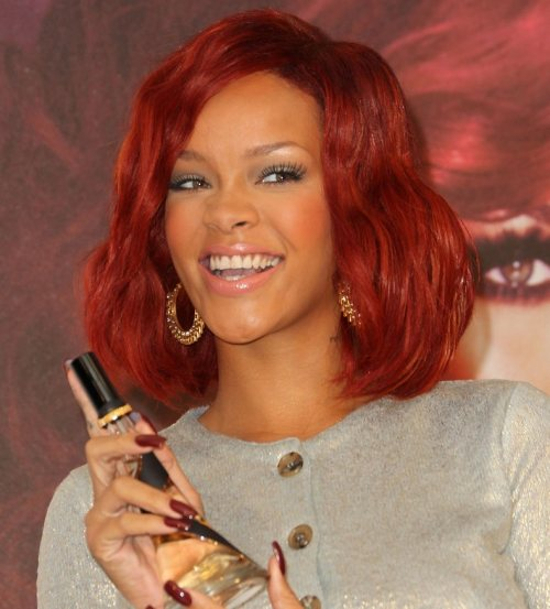 Rihanna hairstyle at her fragrance launch