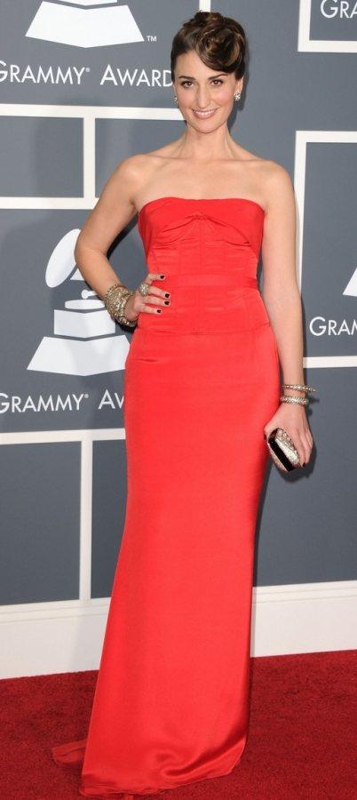 Sara Bareiles in her elegant red dress at the 2011 Grammys