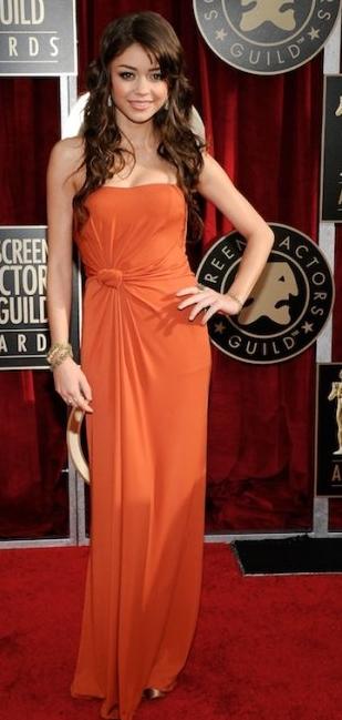 Sarah Hyland strapless gown 2011 sag