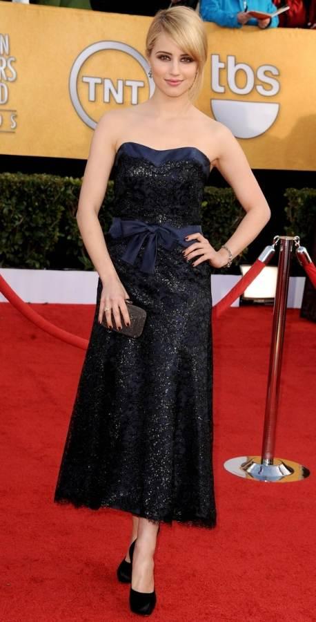 dianna-agron-strapless gown 2011 sag