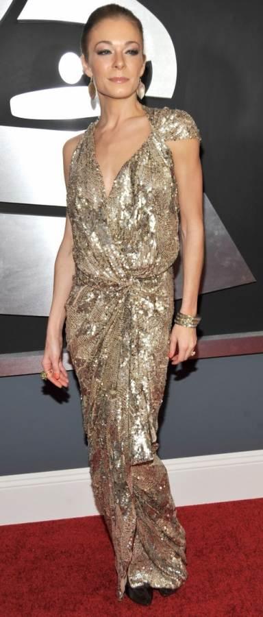 leann-rimes in golden metallic gown at 2011 grammy awards