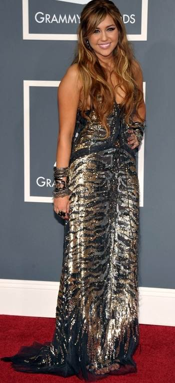 miley-cyrus- in metallic gown at 2011 grammy awards