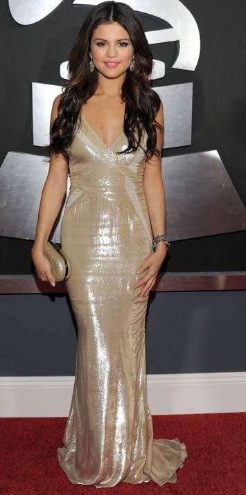 selena-gomez- metallic gown at 2011 grammy awards