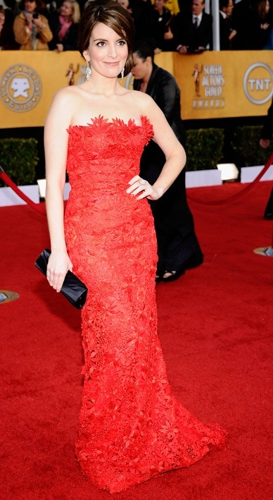 tina-fey-strapless gown 2011 sag