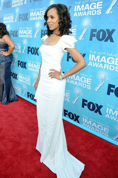 Kerry Washington white dress NAACP Image Awards red carpet