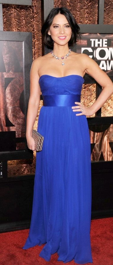 Olivia Munn in electric blue at Comedy Awards